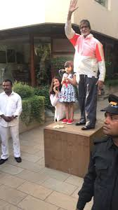 aaradhya and her pet salt pepper join amitabh bachchan in his