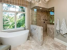 Beige Bathroom Ideas Walk In Shower Ideas No Door Bathroom Transitional With Beige