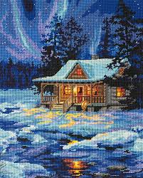 dimensions winter sky cabin needlepoint kit sew essential