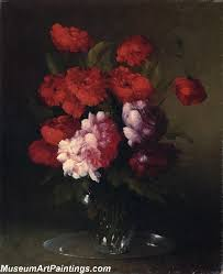 Glass Vase Painting Peonies And Poppies In A Glass Vase Painting
