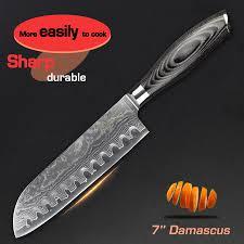 online get cheap kitchen knife cuts aliexpress com alibaba group haoye 7 quot damascus santoku knife japanese kitchen knives cut meat fish slicer wood handle