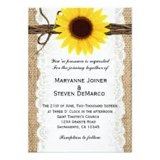 Sunflower Wedding Invitations Burlap And Sunflower Wedding Invitations U0026 Announcements Zazzle