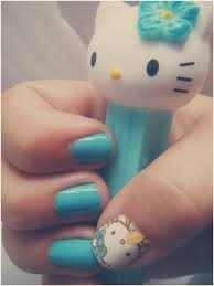 turquoise hello kitty nails nail art i wanna try and do or get
