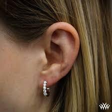 ear hoops shared prong hoop diamond earrings 1741