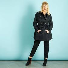 satin trench coat with belt women plus sizes black kiabi 40
