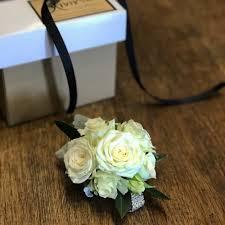 White Rose Wrist Corsage Brisbane Formals Flower Crowns Divine Flowers