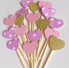 pink and gold cake table decor 50 pcs gold pink stripes polka dots hearts cake toppers wedding