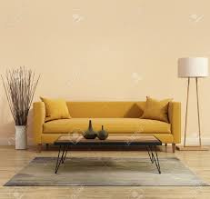 Modern Yellow Sofa Modern Interior With A Yellow Sofa In The Living Room Stock Photo