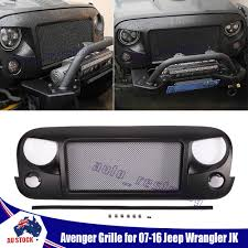 matte gray jeep front matte grill mesh spartan grille aggressive face for 07 16