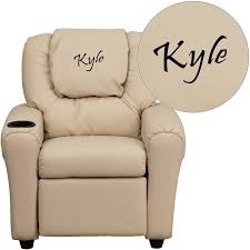 personalized beige vinyl kids recliner with cup holder and