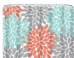 Coral And Gray Curtains Custom Ikat Chevron Shower Curtain Any Color Shown Coral Chev