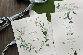 green wedding invitations green foliage wedding suite invitation templates creative market
