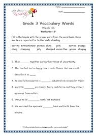 grade 3 vocabulary worksheets week 46 lets share knowledge