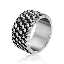 titanium chain rings images Queena spinner silver chain ring for men punk titanium steel metal jpg