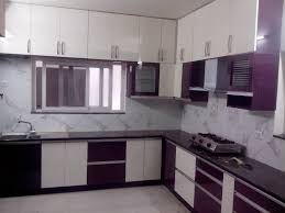 amazing l shaped kitchen layout with white and purple color also
