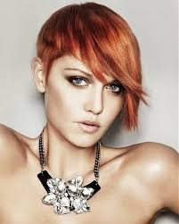 copper and brown sort hair styles very short hairstyles with long bangs that matching for beautiful
