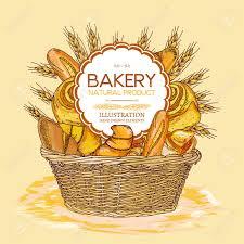 bakery basket bakery basket food watercolor template sketch