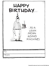 this funny birthday card shows a man with a party hat and slick of
