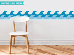 Wallpaper Decal Theme Amazon Com Sunny Decals Wave Wall Border Fabric Wall Decal Set Of