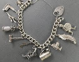 solid sterling silver charm bracelet images Charm bracelets vintage etsy ca jpg