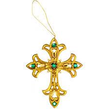 4 gold cross ornaments set of 2 22707 mardigrasoutlet