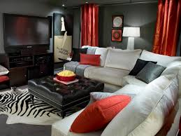 home theater basement ideas brown velvet strip sofa cone wall