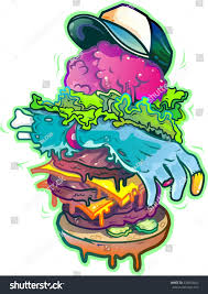 zombie burger halloween food art stock illustration 324834443