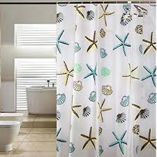 Seashell Shower Curtains Pier Decorative Peva Mildew Free Water Repellant