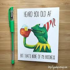 Meme Birthday Card - funny frog none of my business birthday card