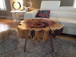 stump table with hairpin metal legs stump end table maple live