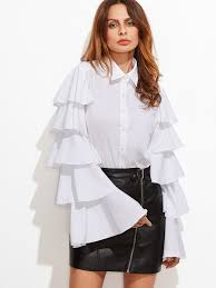 white bell sleeve blouse white button up layered bell sleeve blouse makemechic com