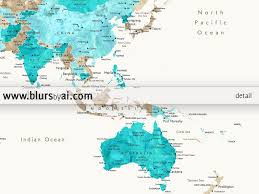 Labeled Us Map Personalized World Map Printable In Aquamarine And Brown