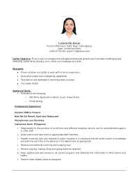 Resume Sample Caregiver Position by Resume Objective Examples For Jollibee Augustais