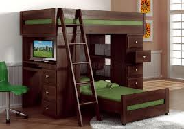 Kid Bunk Beds With Desk by Espresso Finish Solid Pine Transitional Loft Bed W Desk