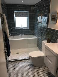 look at the great use of space with a bath and a shower in this
