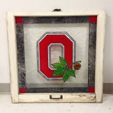 osu faux stained antique window ohio state buckeyes by murage my