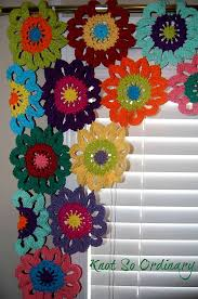 Crochet Kitchen Curtains by Flower Valance Window Valance Window Treatment By Knotsaplenty