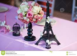 Eiffel Tower Decoration Flower Bouquet With Eiffel Tower On A Wedding Table Stock Photo