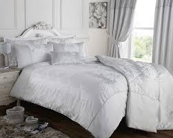 silver grey duvet quilt cover jacquard bedding bed set luxury