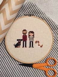 cotton anniversary ideas custom cross stitched family portrait 4 characters custom