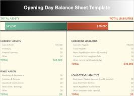 Opening Day Balance Sheet Template Balance Sheet Template Free Excel Word Documents