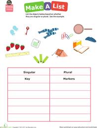 get into grammar make a singular plural list worksheet