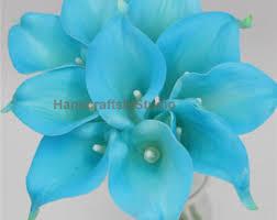 wedding flowers blue malibu blue bouquet etsy