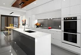 Kitchen Cabinet Design For Apartment Minimalist Kitchen With White Cupboard And Grey Floor For