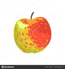 multicolor apple funky hand drawn fresh fruit cartoon illustration
