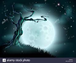 a spooky scary blue halloween background scene with full moon