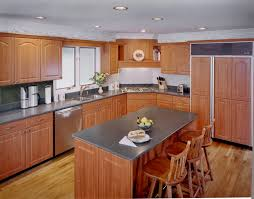 Kitchen Cherry Cabinets What Countertop Color Looks Best With Cherry Pear Cabinets