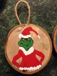 grinch wood slice ornament painted wood slice ornaments