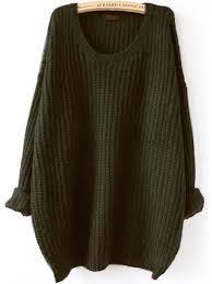 green sweater olive green drop shoulder textured sweater shein sheinside