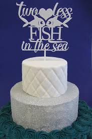 Cake Decorations Beach Theme - two less fish in the sea white acrylic cake topper beach theme